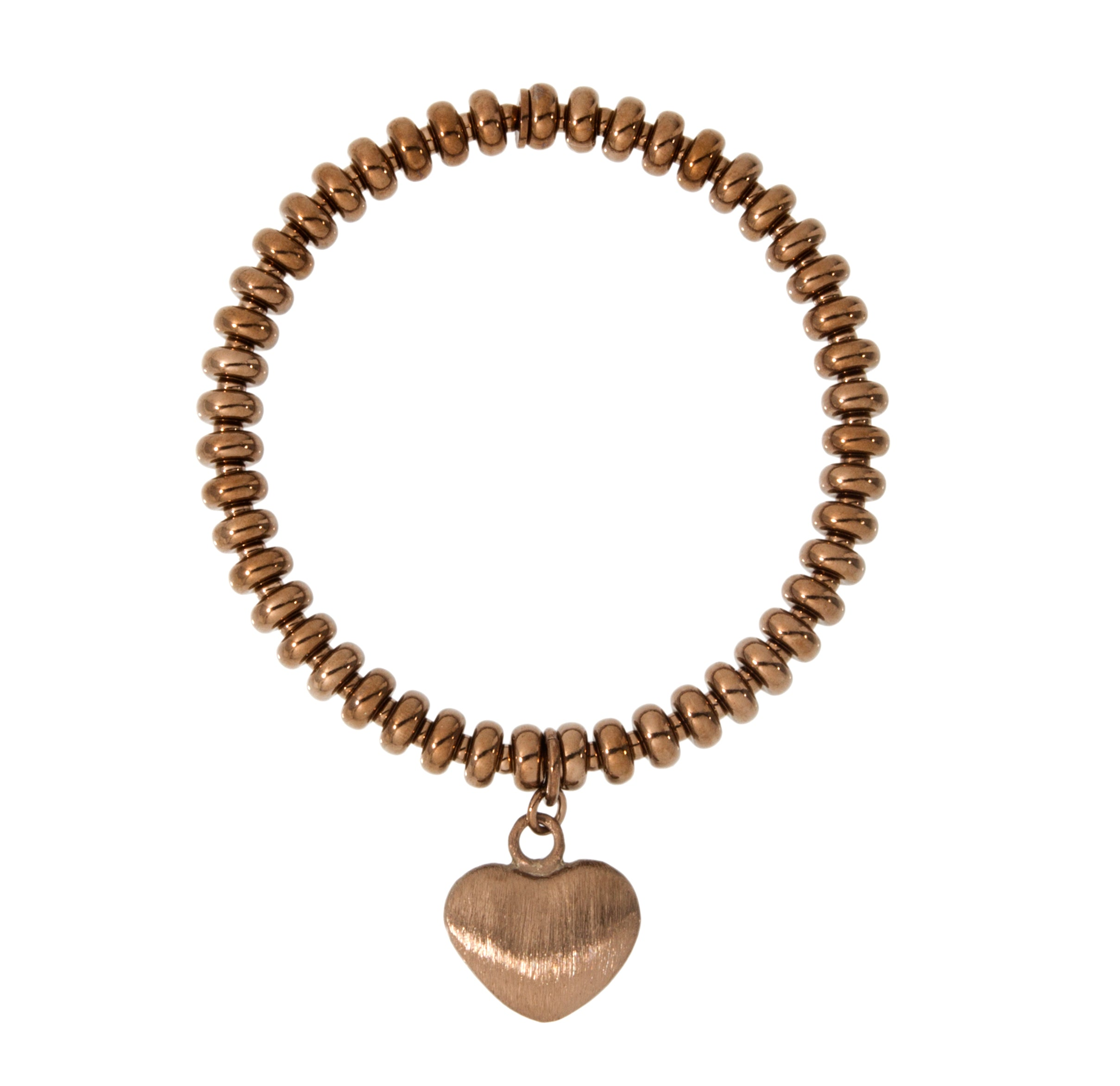 Forever Last   18k Gold Plated Women's  Chocolate Plated Shiny Roundel Heart Charm Bracelet