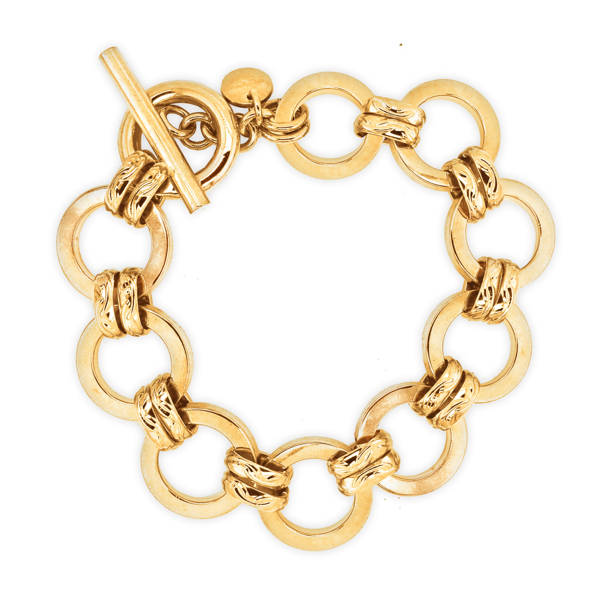 "Forever Last   18k Gold Plated Women's  8.5"" Large Round Link  With Toggle Clasp Bracelet"