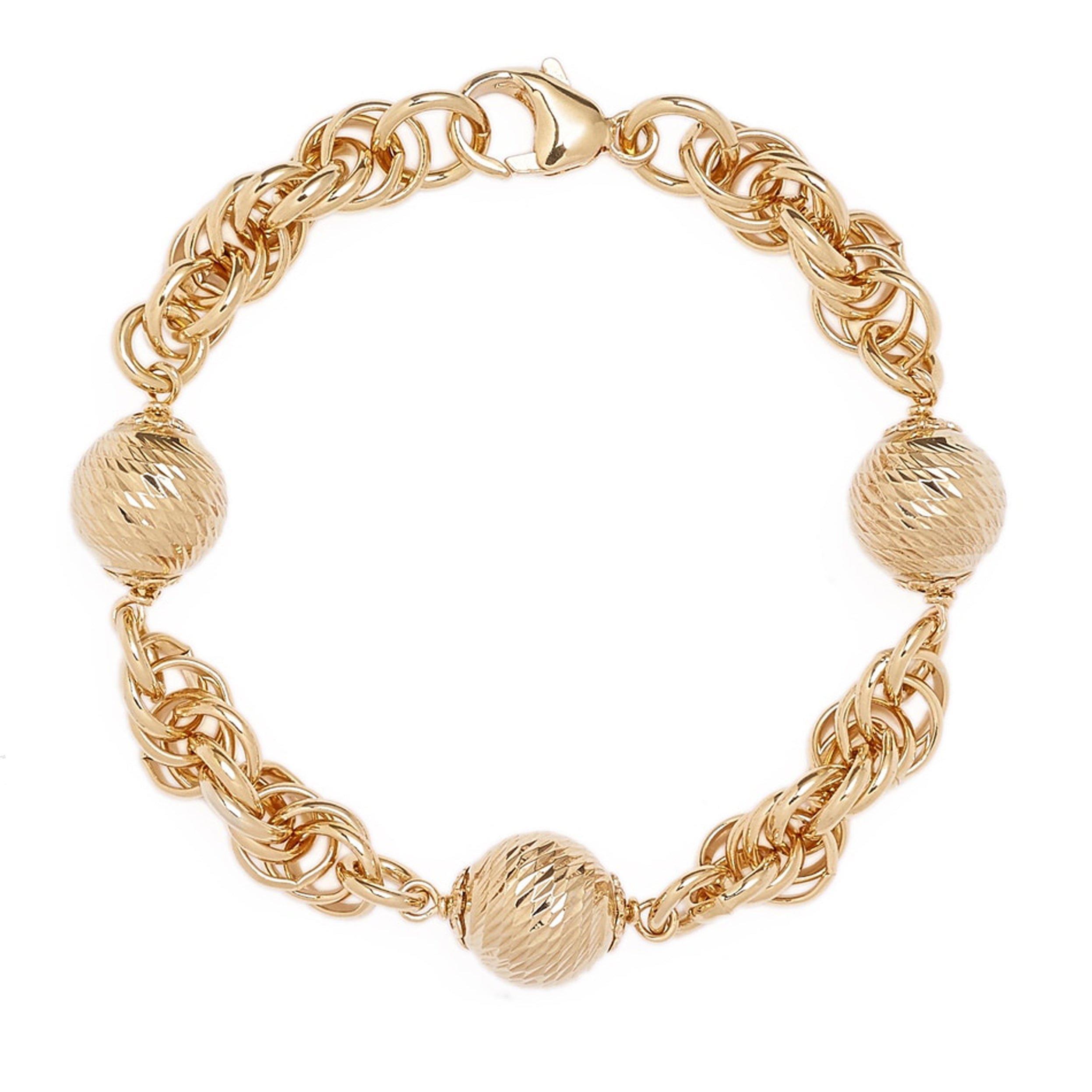 "Forever Last   18k Gold Plated Women's  7.5"" Rope  With 3 Gold Beads Bracelet"