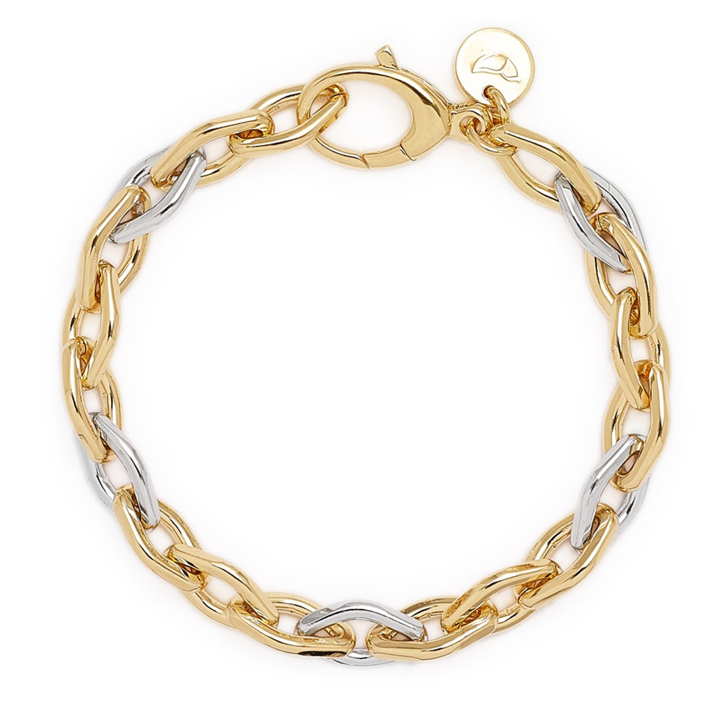 "Forever Last   18k Gold Plated Women's  8"" Two Tone Rolo Bracelet"