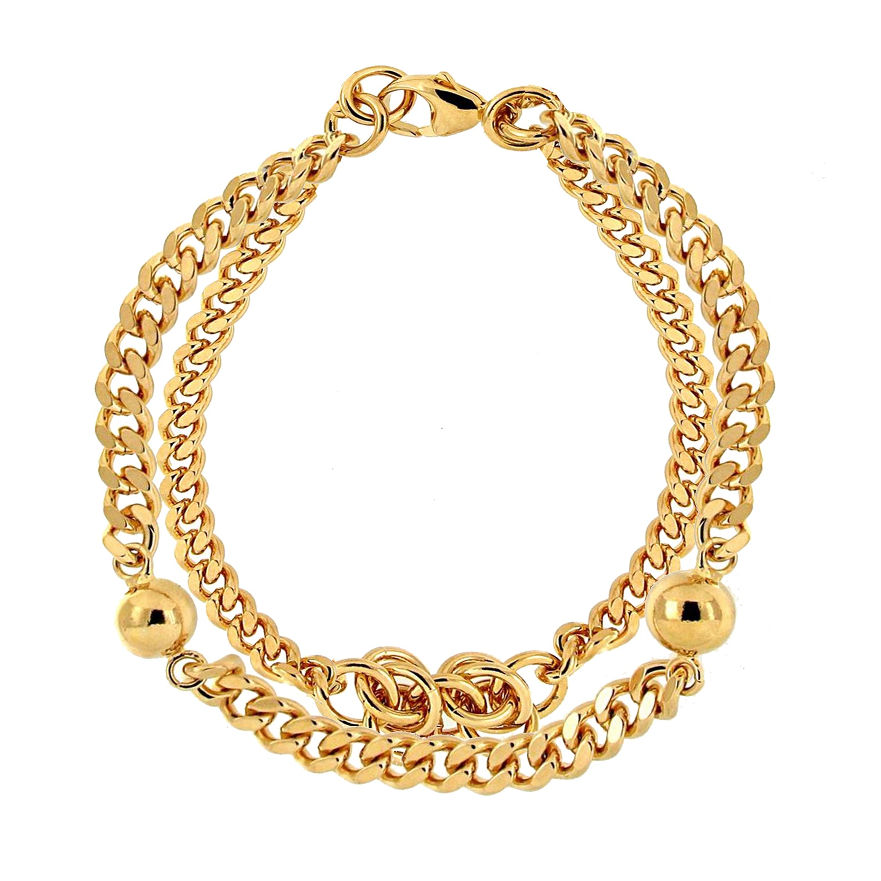 Forever Last   18k Gold Plated Women's  Double Curb Link Knot & Bead Bracelet