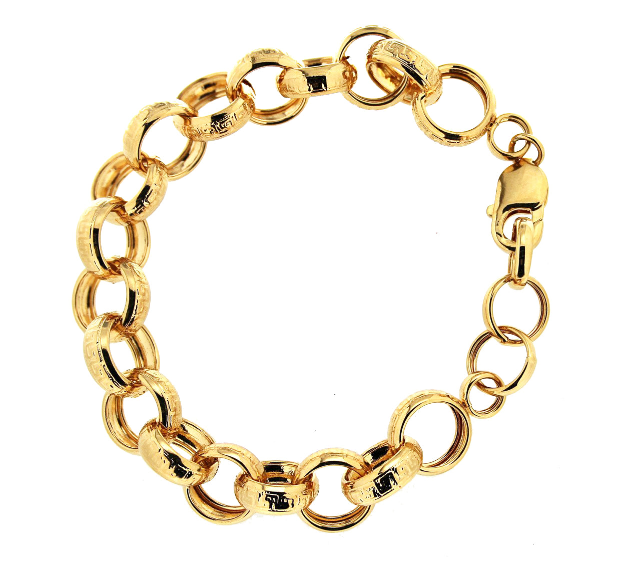 Forever Last   18k Gold Plated Women's  Large Patterned Rolo Link Bracelet