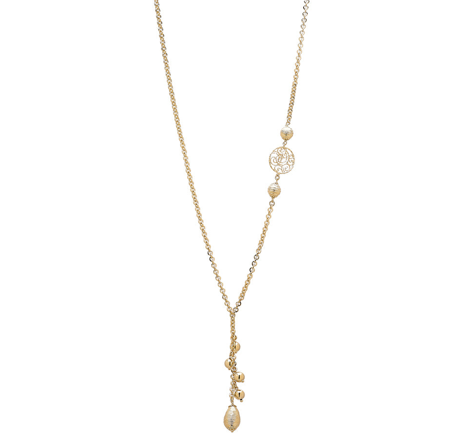 "Forever Last 18 k Gold Plated  26"" Rolo Link Lariet  Beads Necklace"