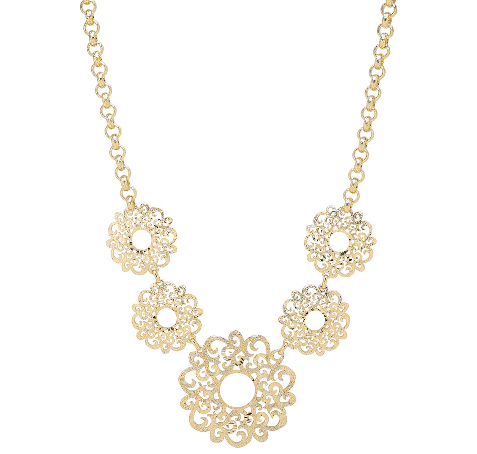 Forever Last 18 k Gold Plated  Rolo Link Neck Filigree Flower Necklace