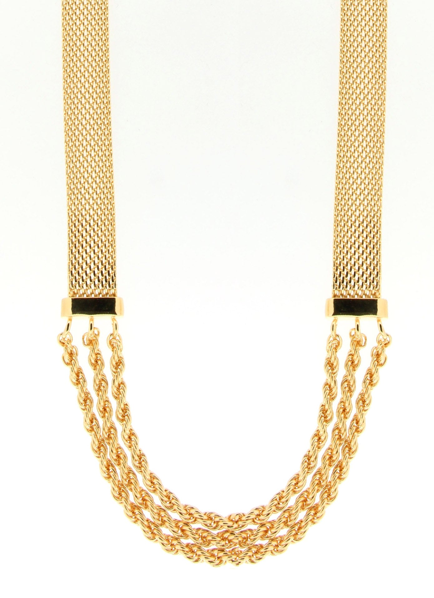 "Forever Last 18 k Gold Plated  20"" Bismark & Rope Combination Neck."