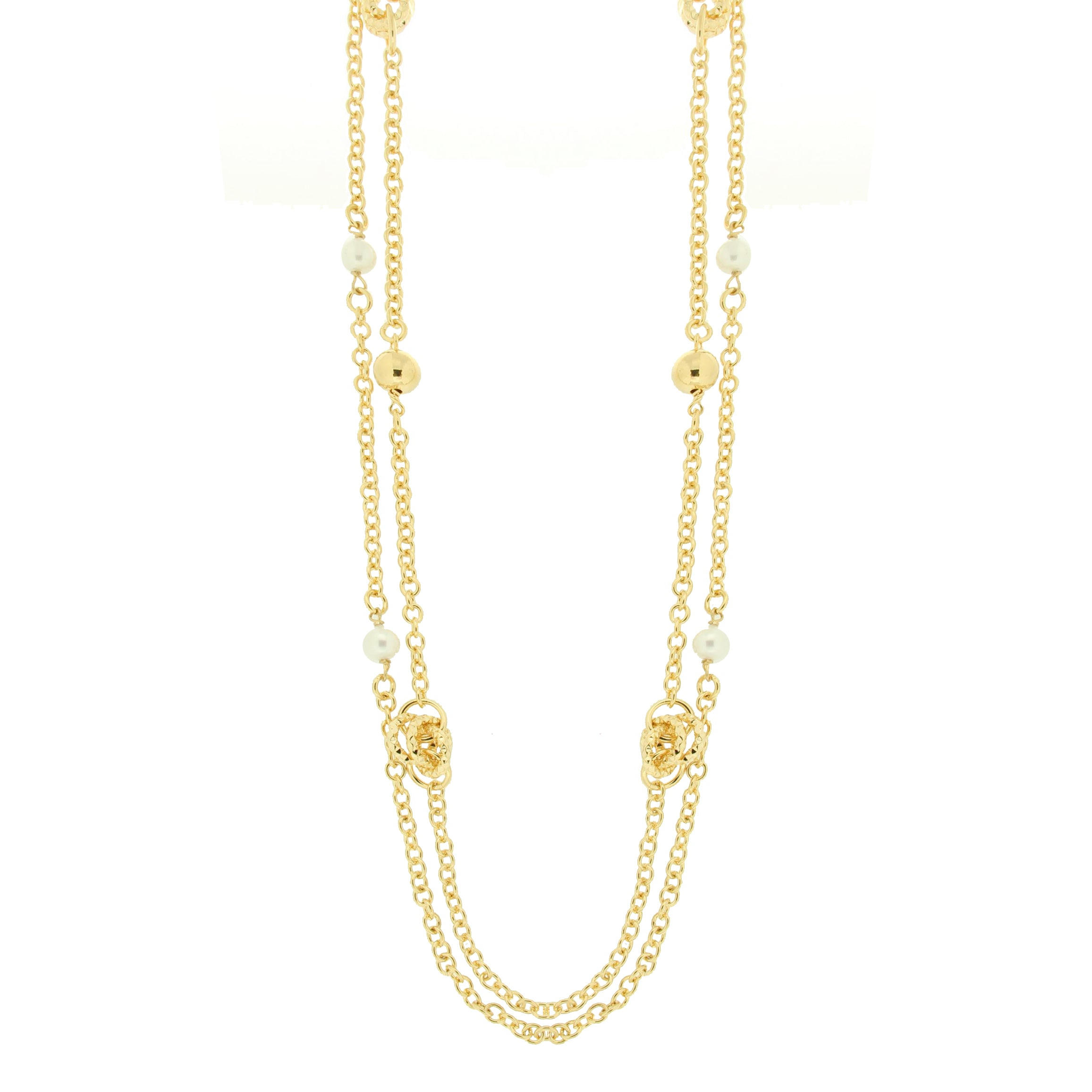 Forever Last 18 k Gold Plated  Long Double Pearls And Knots Necklace