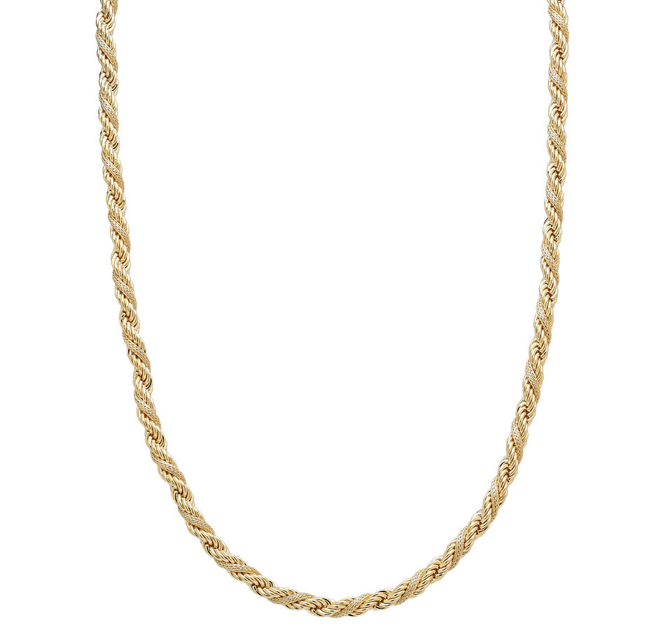 "Forever Last 18 k Gold Plated  24"" Texturd Rope Necklace"