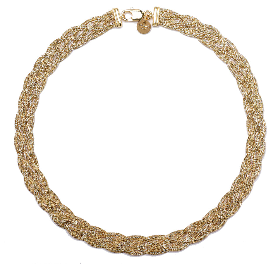 "Forever Last 18 k Gold Plated  18"" Yellow  Wide 5 Braid Hammered Wheat Necklace"