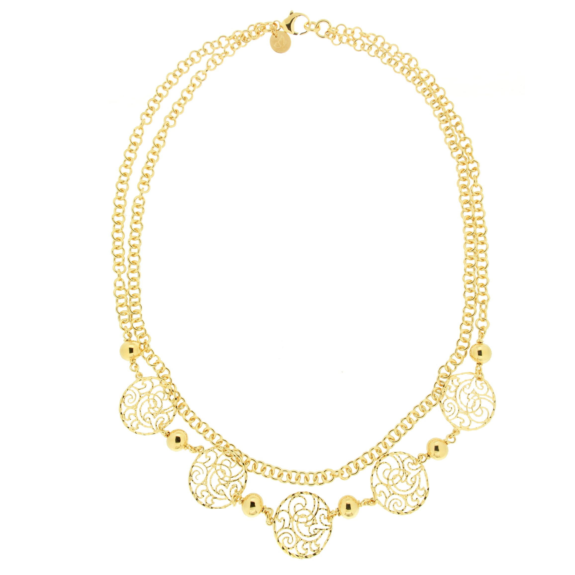 "Forever Last 18 k Gold Plated  20"" Double Strand Rolo Filigree Necklace"