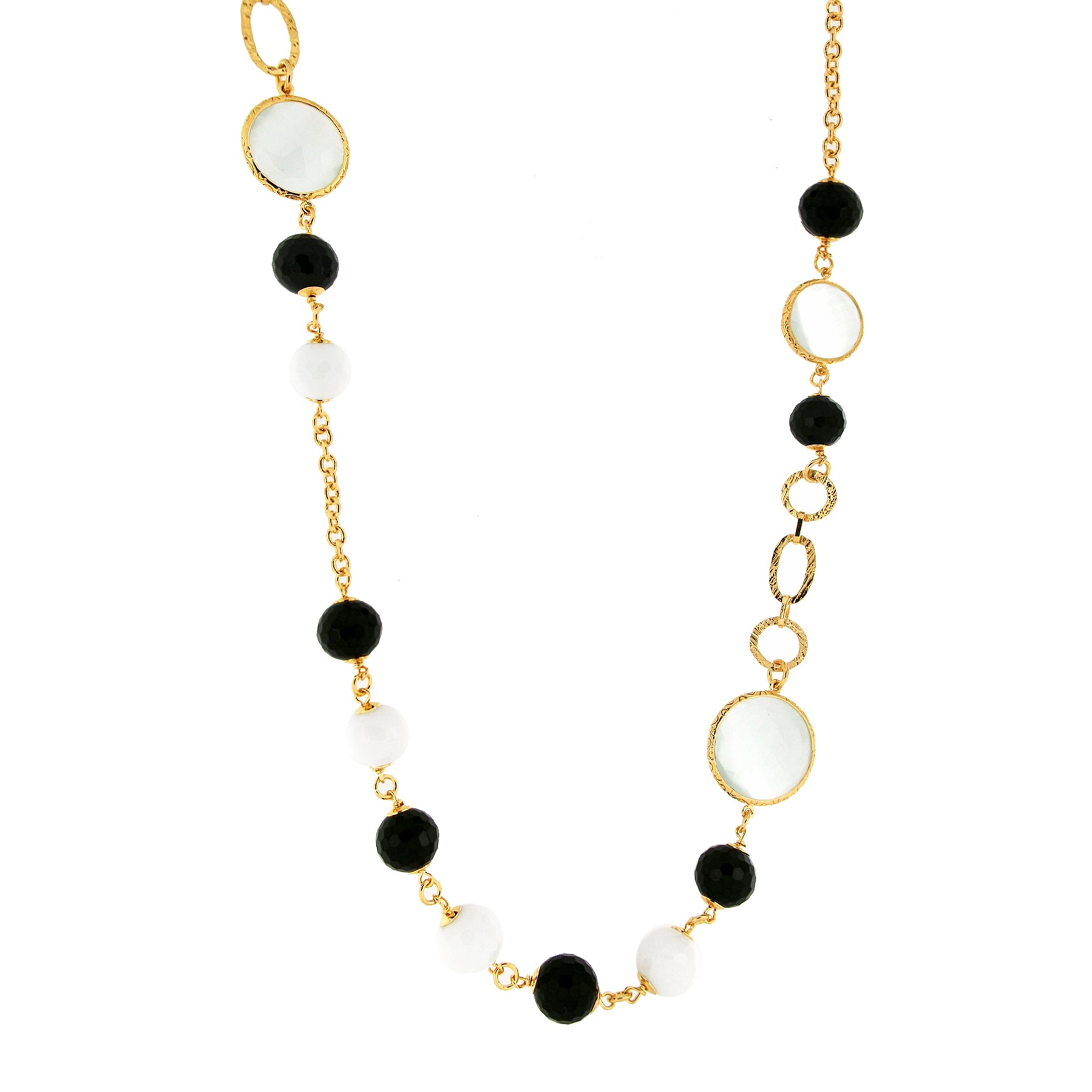 Forever Last 18 k Gold Plated  Mop Crystal Onyx White Agate  Necklace