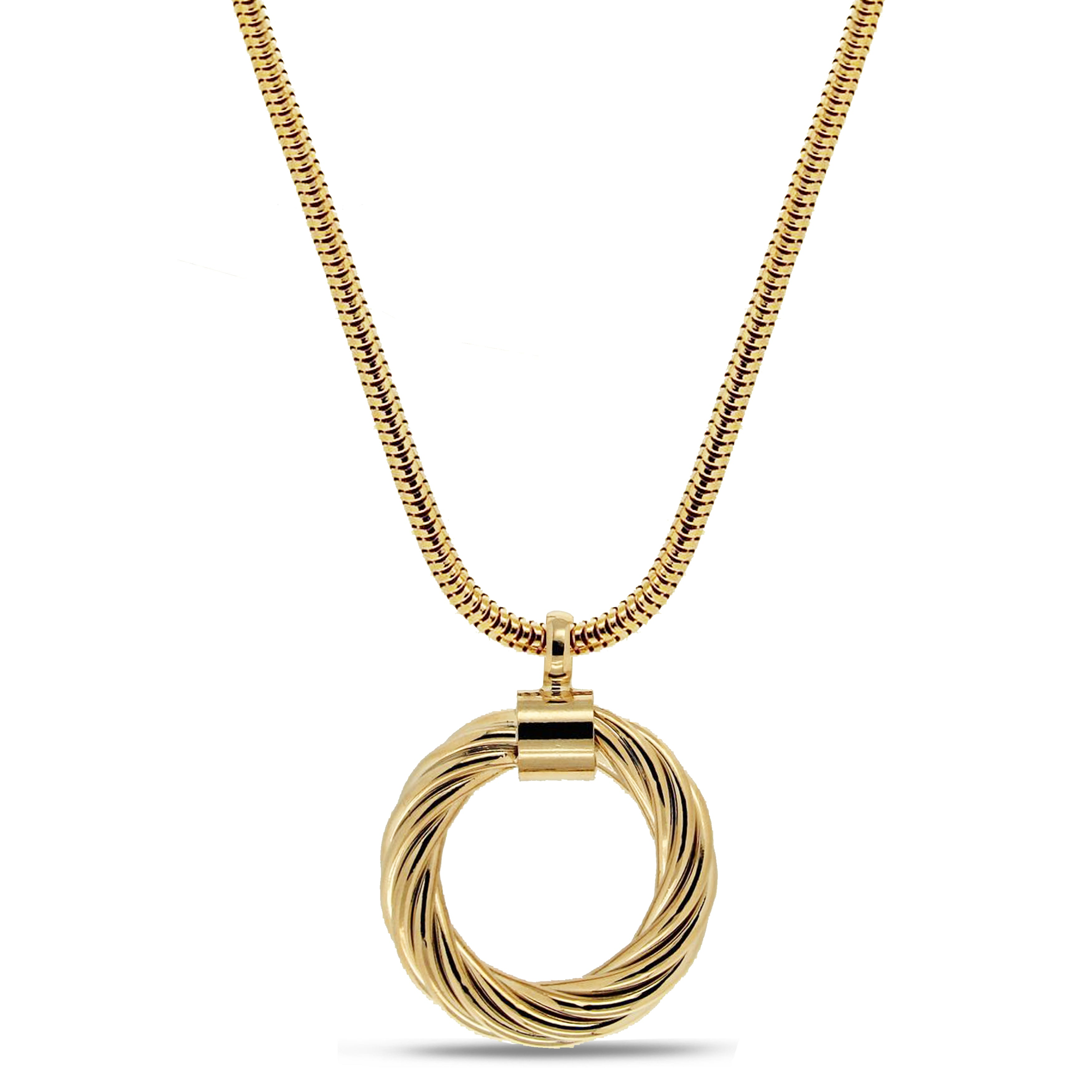 "Forever Last 18 k Gold Plated  28"" + 2"" Snake Large Round Link Necklace"
