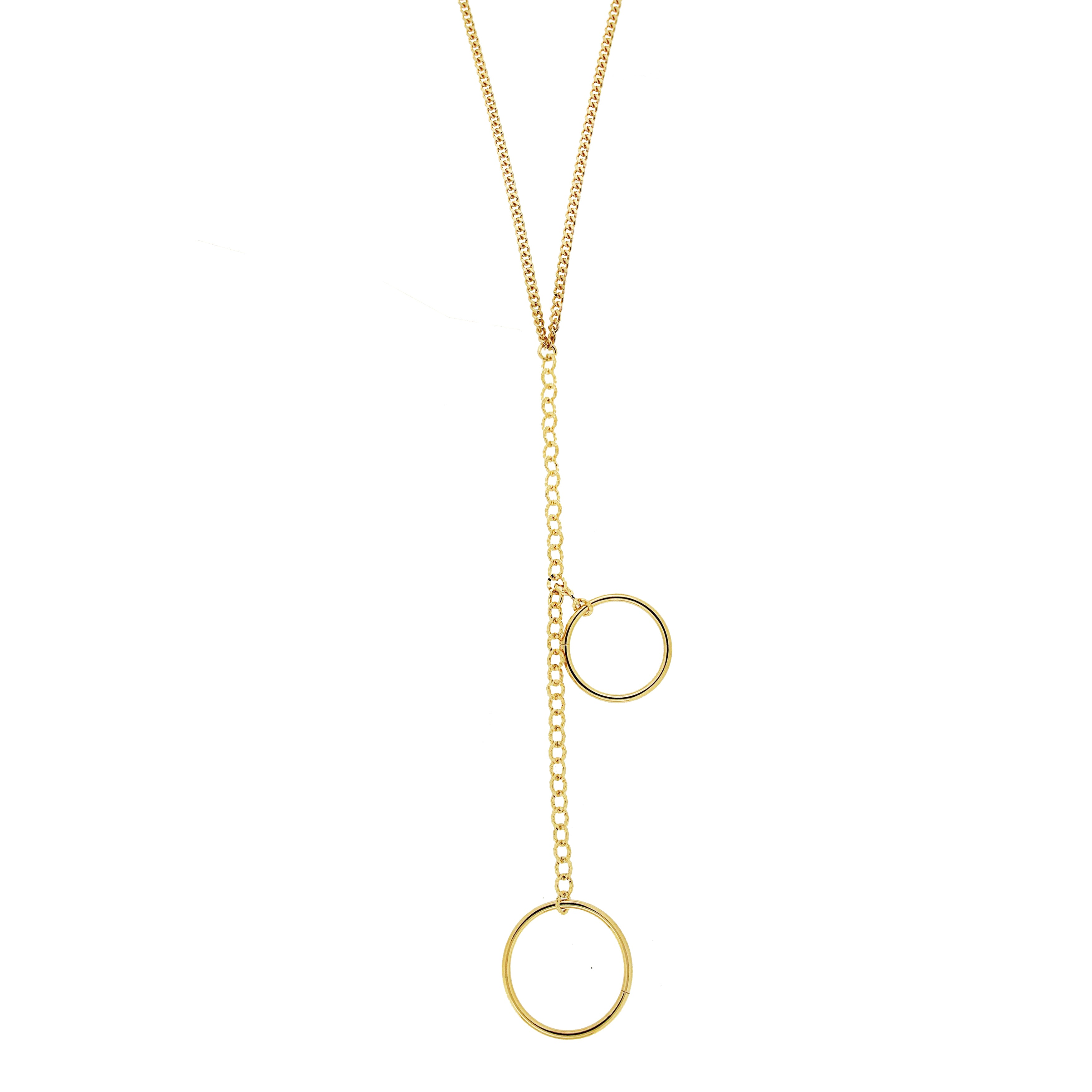 Forever Last 18 k Gold Plated  Long Link Curb W/ Drop Down Doubles Rings  Necklace