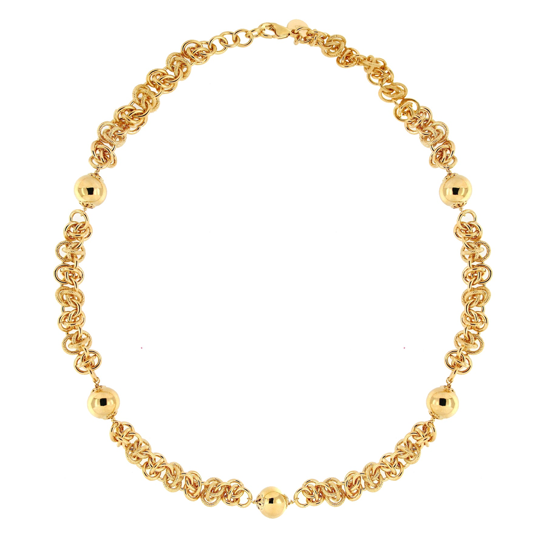 Forever Last 18 k Gold Plated  21.25  Polished Bead Stations  Necklace