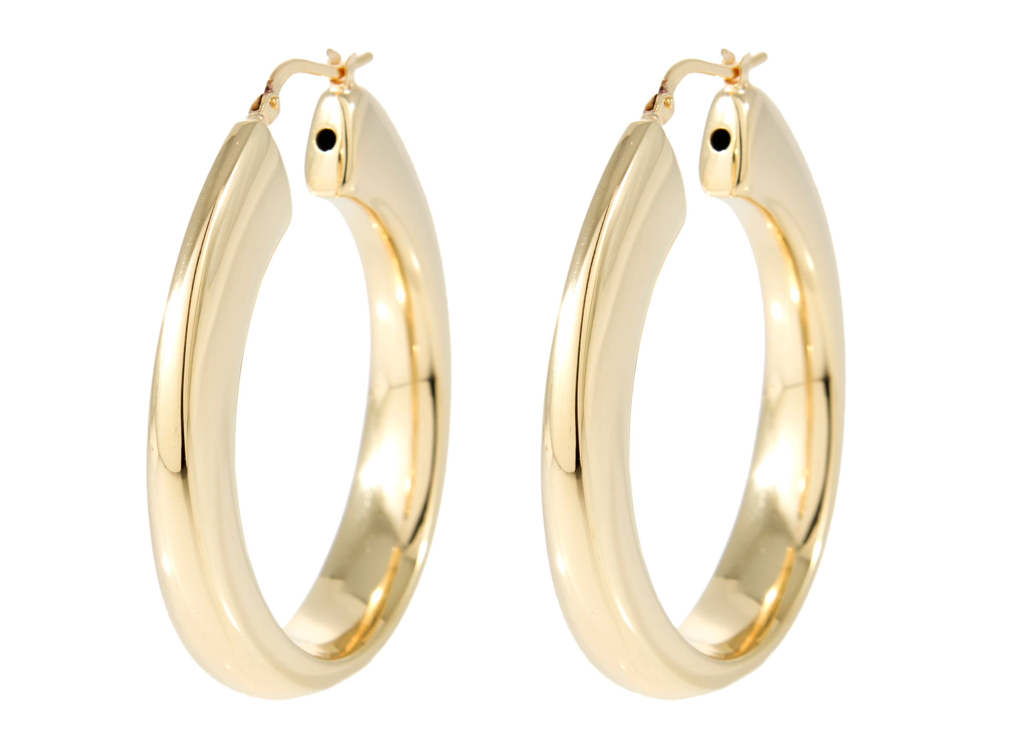 Forever Last 18k Gold Plated Women's Yellow Plated Hinged Hoop Earrings