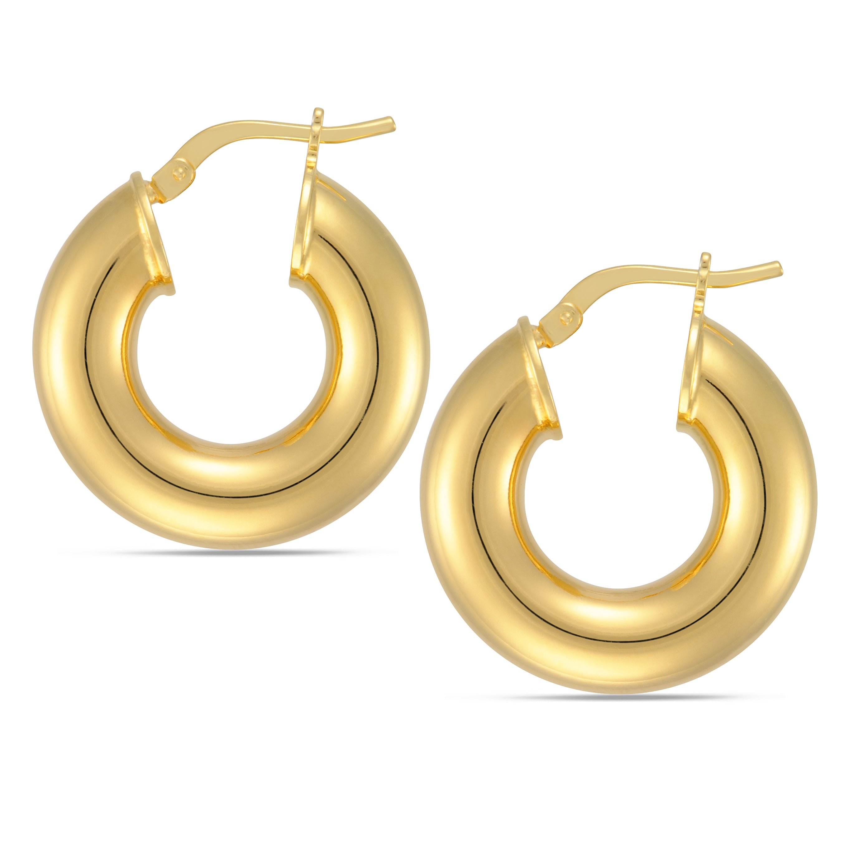 Forever Last 18k Gold Plated Women's Yellow Round Hoop Earrings