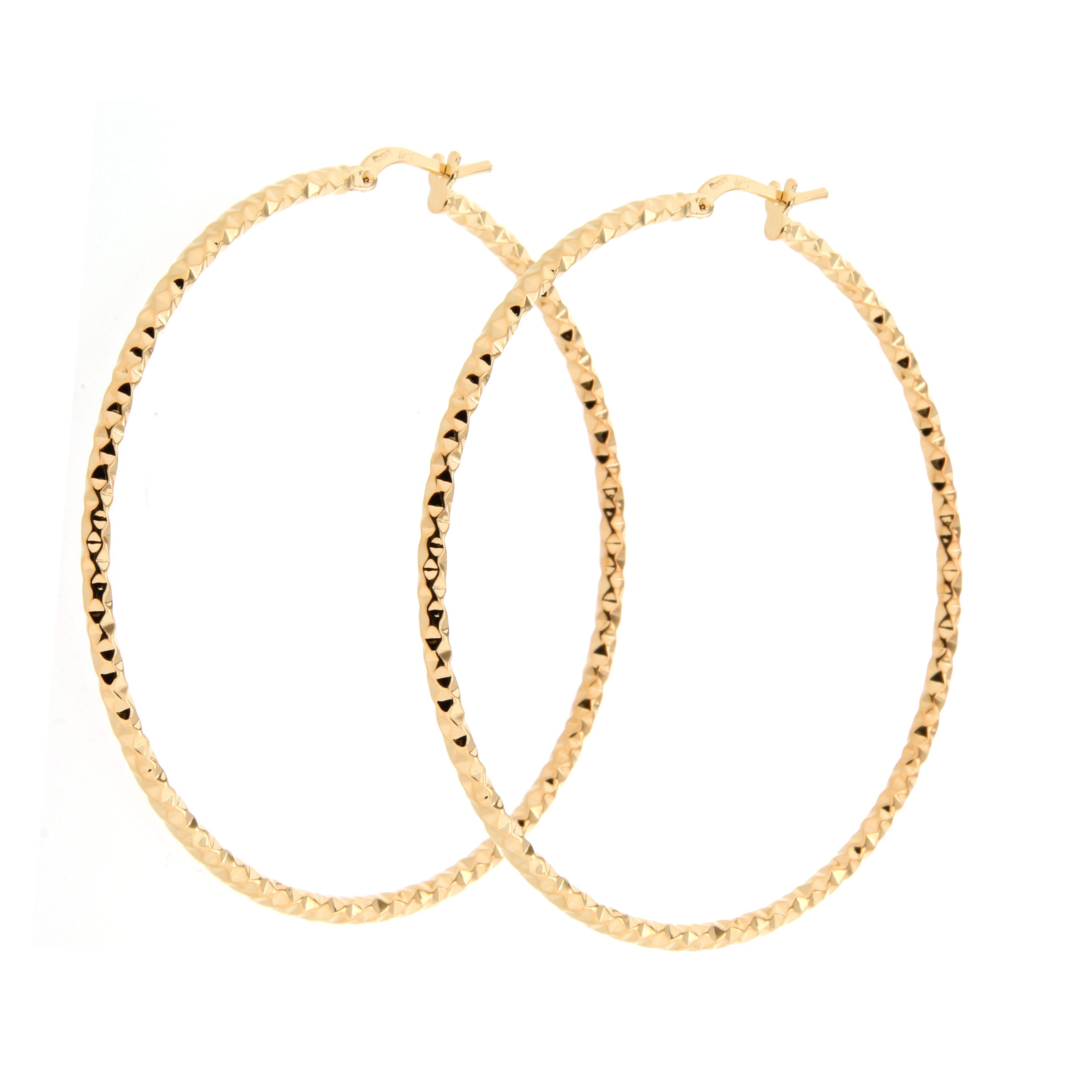 Forever Last 18k Gold Plated Women's Diamond Cut Larger Hoops Earrings