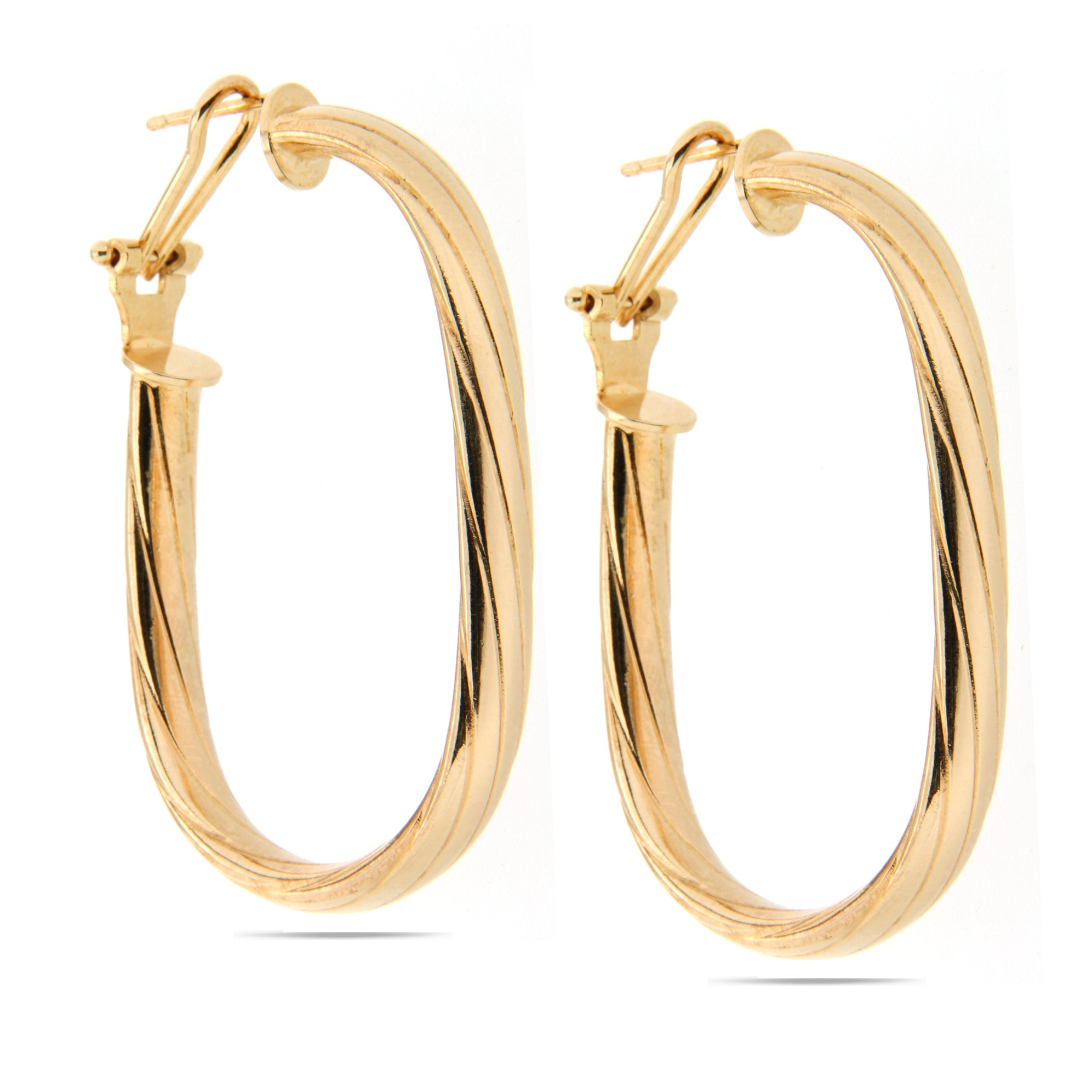 Forever Last 18k Gold Plated Women's Twisted Tube Oval Hoop Earrings