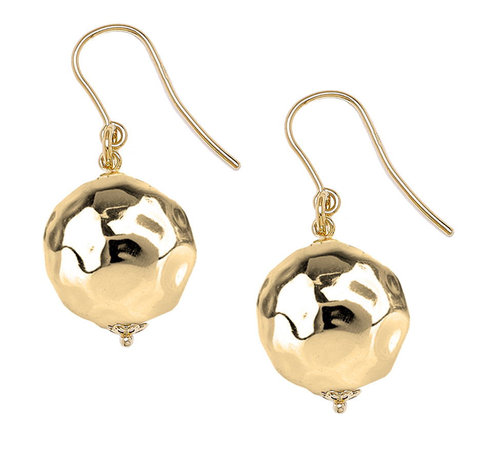 Forever Last 18k Gold Plated Women's Hammered Large Bead On Fish Hook Earrings