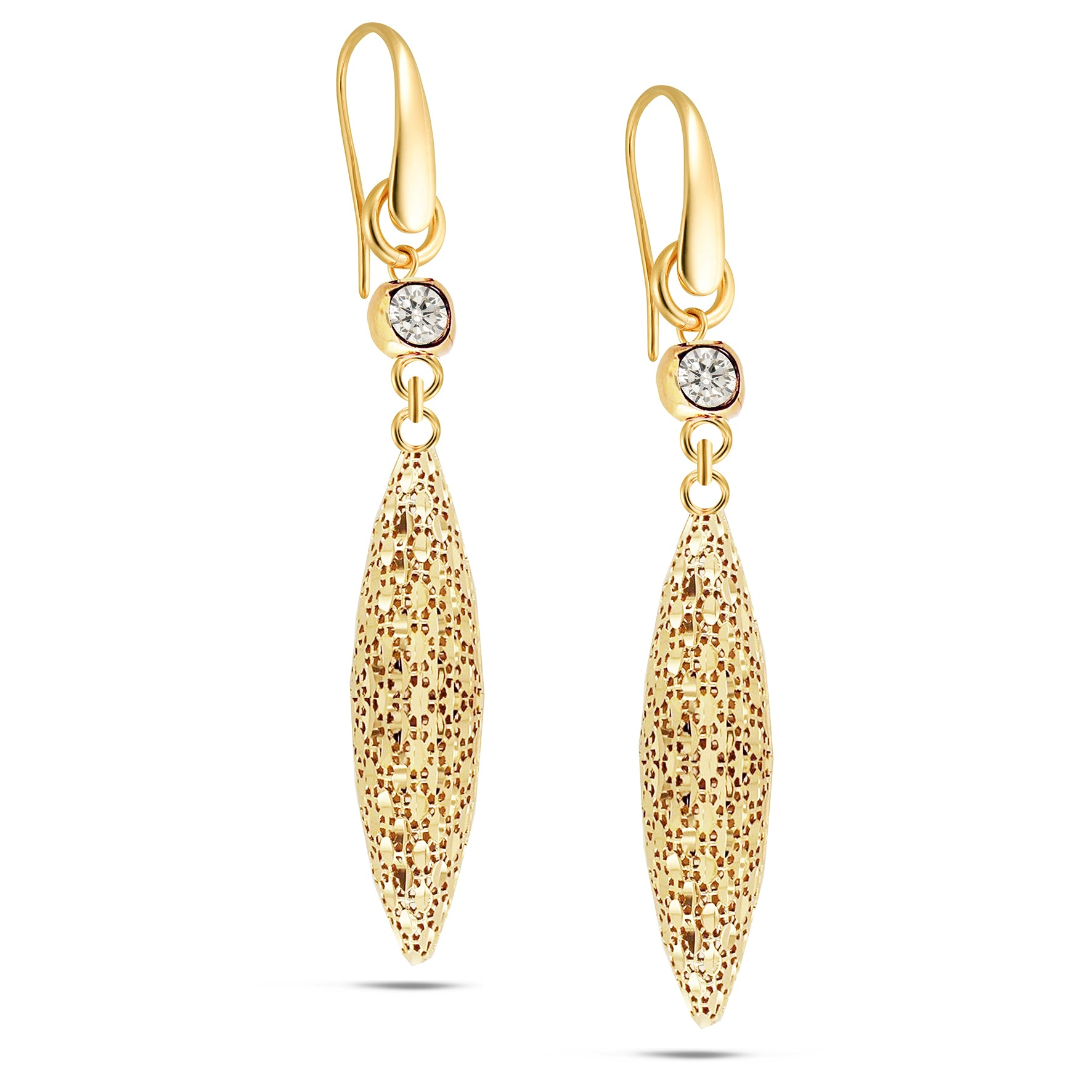 Forever Last 18k Gold Plated Women's Dc Long Drop CZ  Earrings