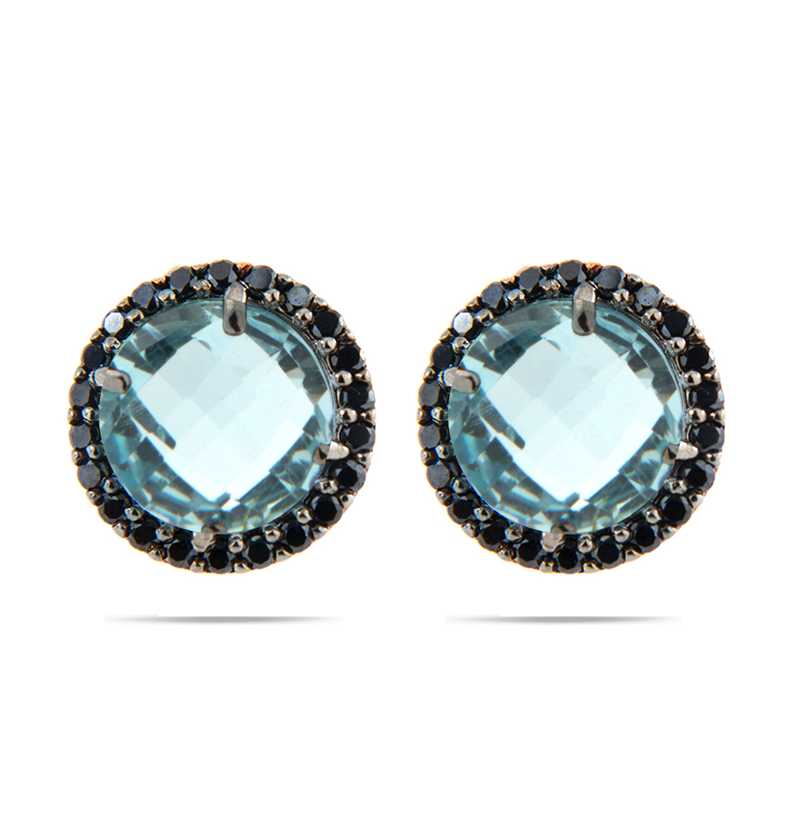 Forever Last 18k Gold Plated Women's Blue Topaz Earrings