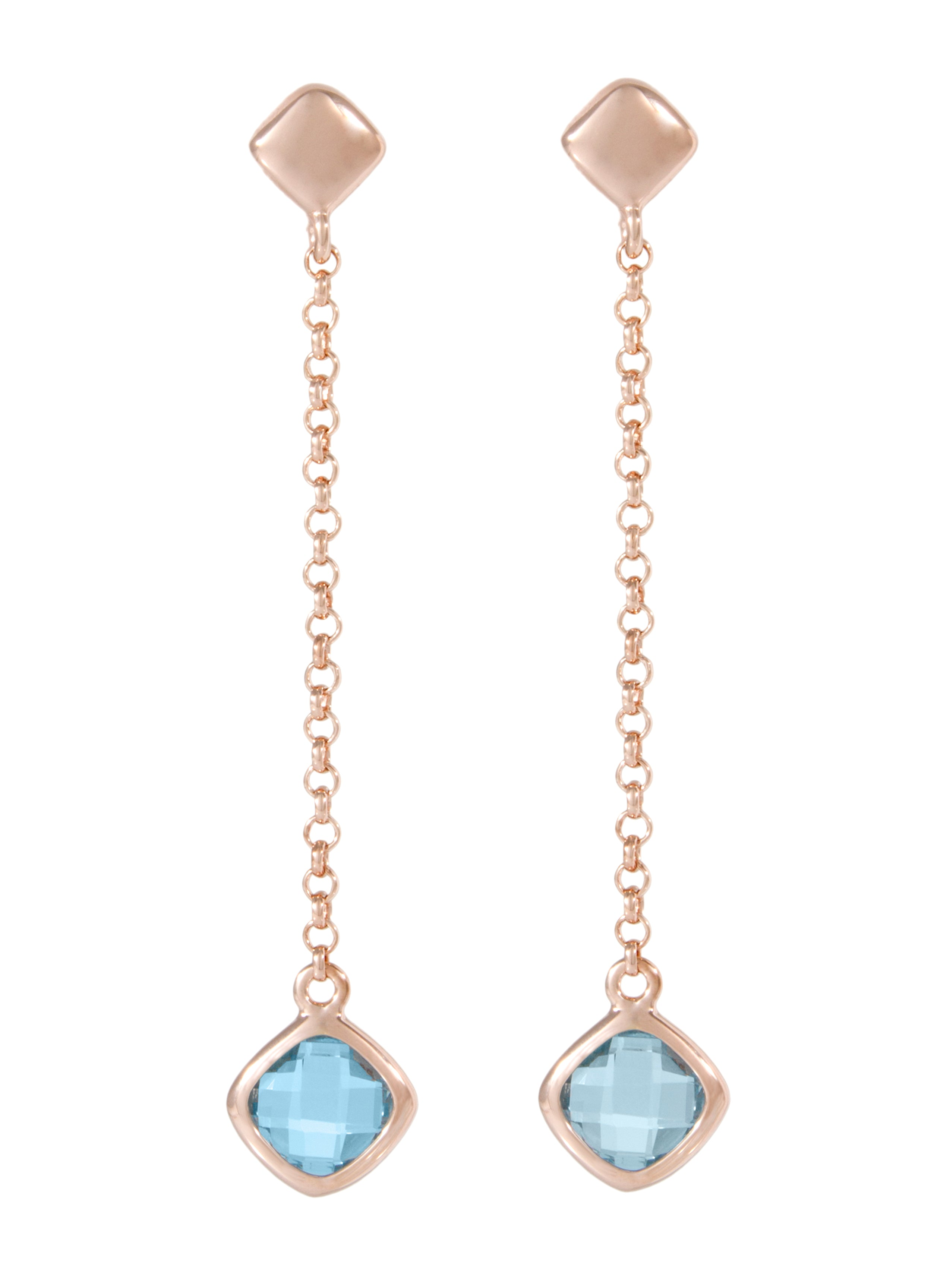 Forever Last 18k Gold Plated Women's Blue Topaz  Earring