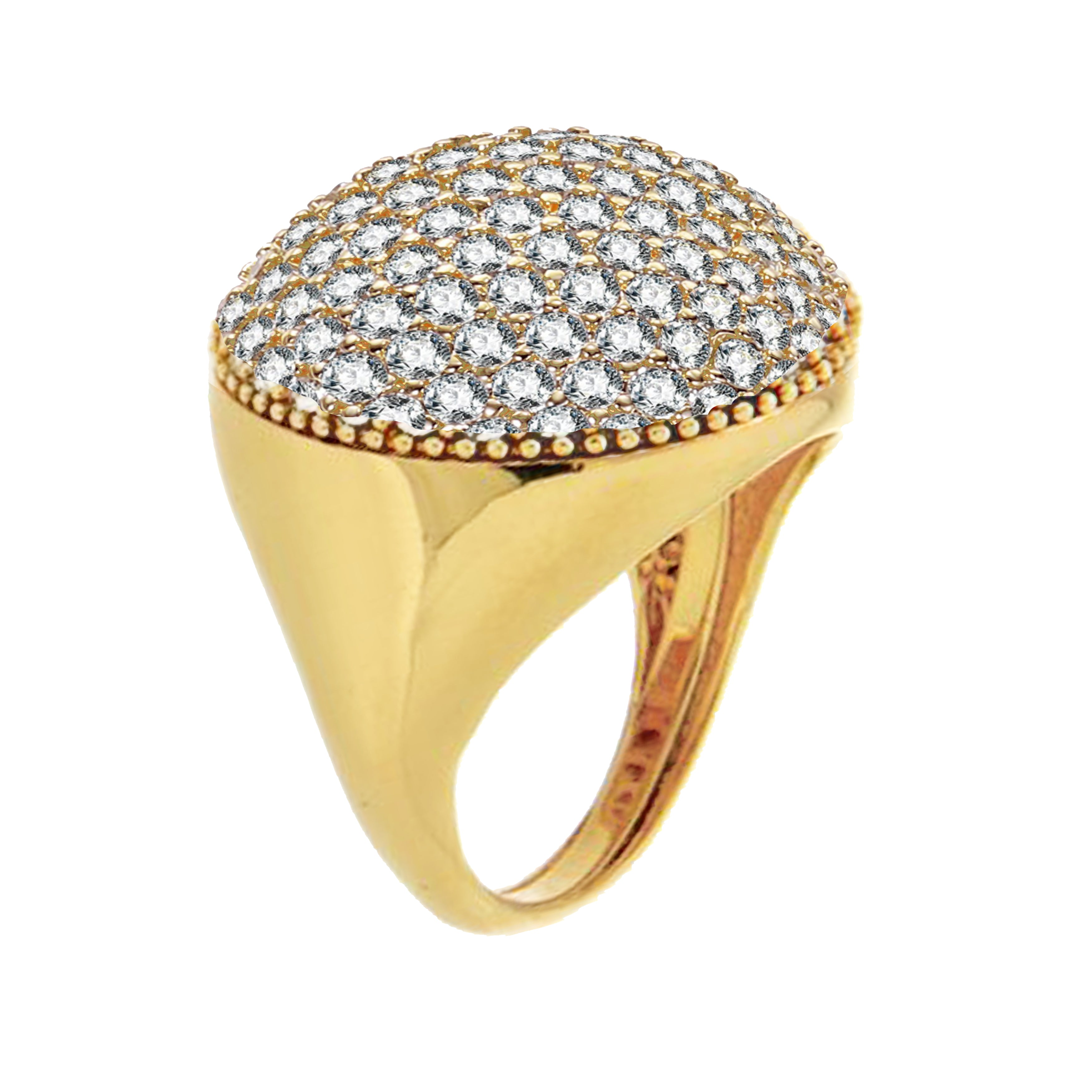 Forever Last 18 kt Gold Plated Women's Round Dome Ring White Cubics