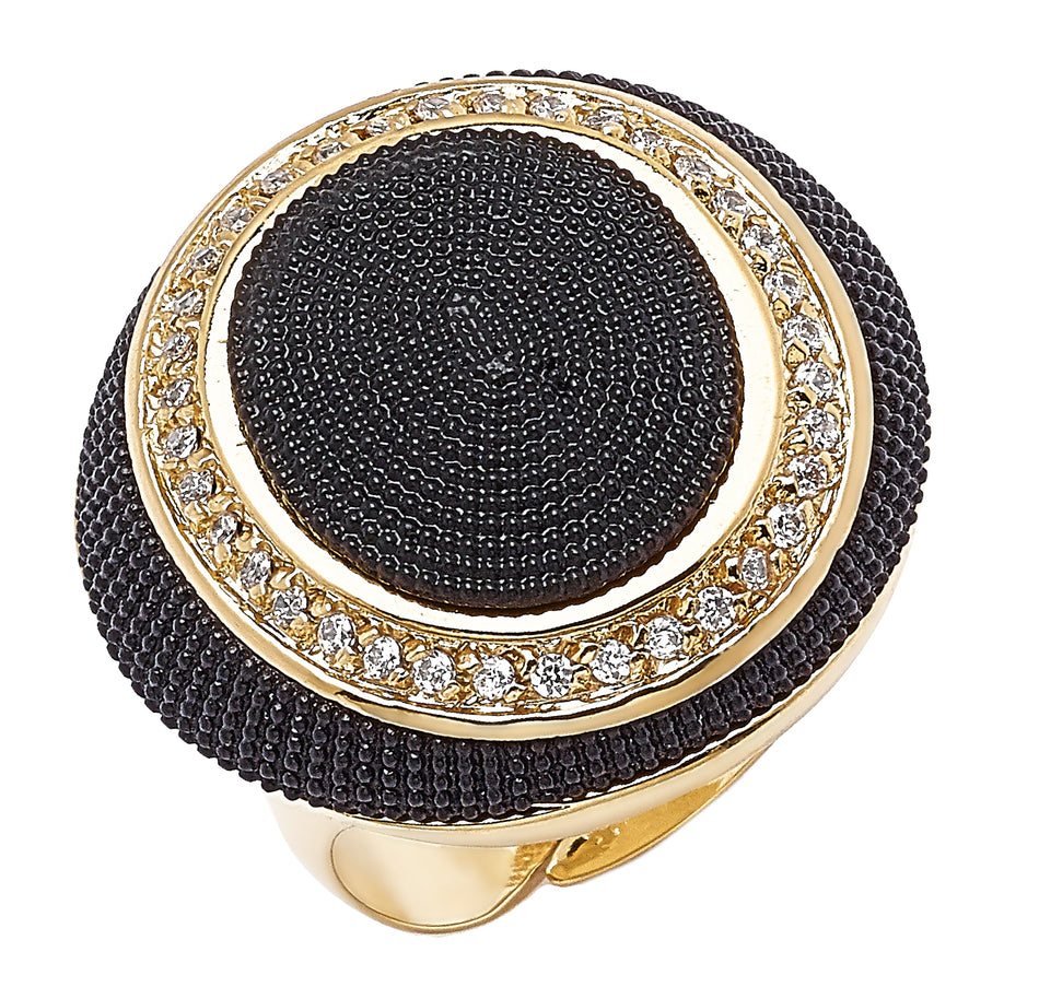 Forever Last 18 kt Gold Plated Women's Black/Yellow Textured Dome Ring