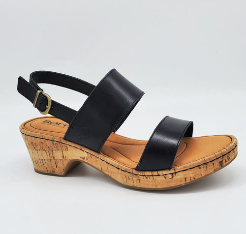 Born Atzel Womens Sandal Cork Wrapped Wedge Leather Black