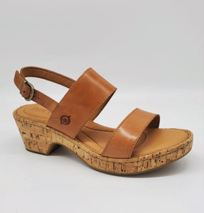 Born Atzel Womens Sandal Cork Wrapped Wedge Leather Tan
