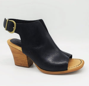 Born Moraine Black Peep Toe Sandal With Leather Stacked Heel