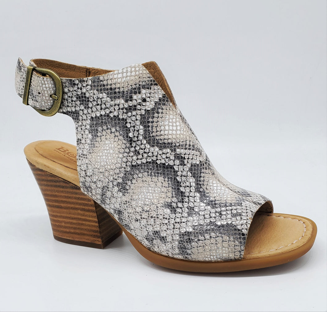 Born Moraine Snakeskin Peep Toe Sandal With Leather Stacked Heel