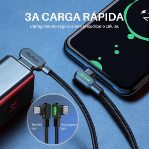 Cabo IPhone de carregamento ultra rápido - INDESTRUCTIBLE 90° - Presentes do Mundo