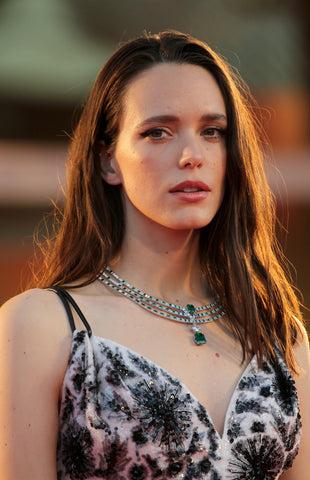 Stacy Martin in an emerald and diamond Louis Vuitton necklace © Elisabetta A. Villa