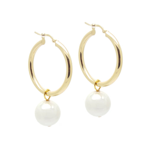 Salome Gold Hoop and Pearl Earrings