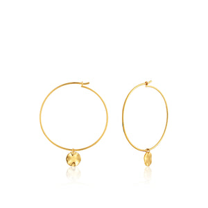 Ania Haie Gold Ripple Disc Hoop Earrings