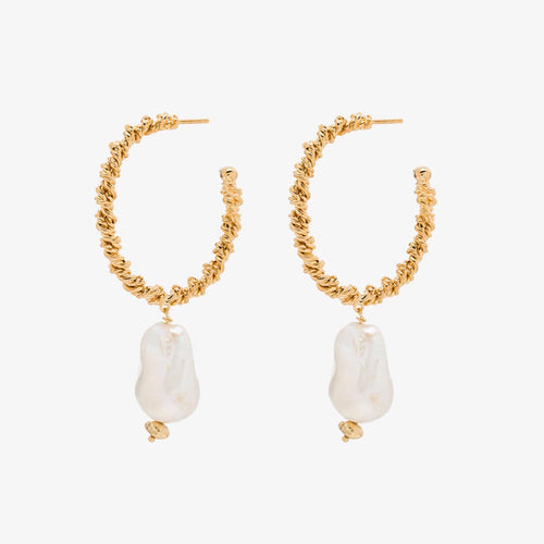 Joanna Laura Constantine Gold Twist Wire Pearl Hoop Earrings
