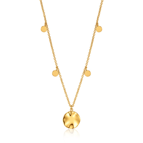 Ania Haie Gold Ripple Drop Discs Necklace
