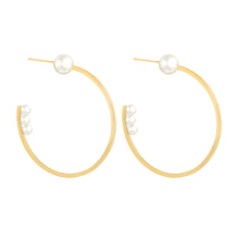 Load image into Gallery viewer, In-Trigue Gold Pearl Hoop Earrings