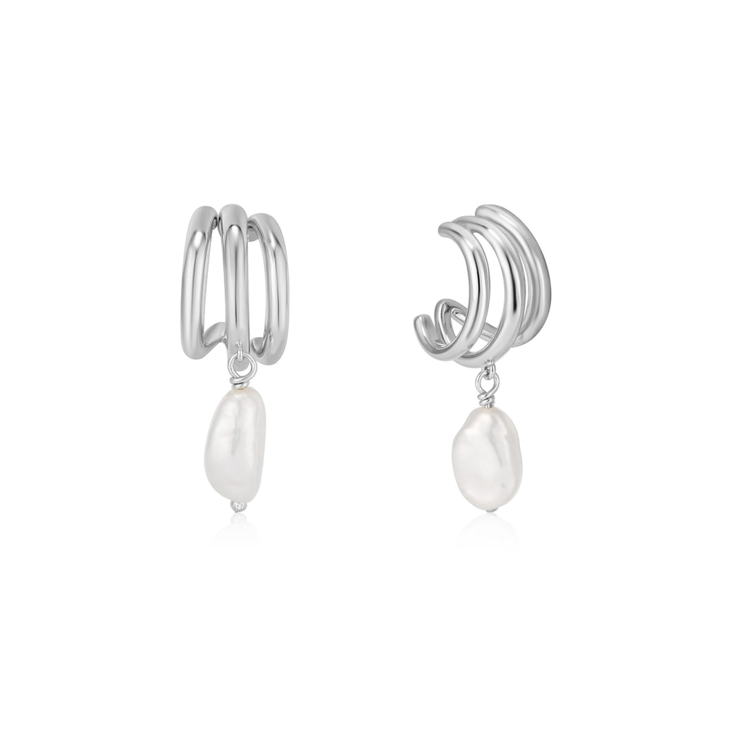 Image of a fresh water pearl drop earring with three chunky mini silver hoops.