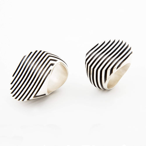 Sarah Herriot Silver Striped Flat Ring