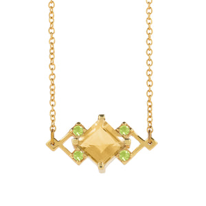 In-Trigue Geometric Citrine and Peridot Gold Necklace