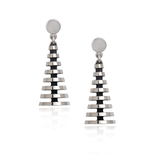 Sarah Herriot Silver Pyramid Drop Earrings
