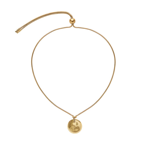 Soko Gold Adjustable Ripple Disc Pendant Necklace