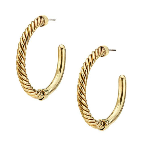 An image of a pair of 24 karat gold hoop earrings with a twisted wire detail by Soko