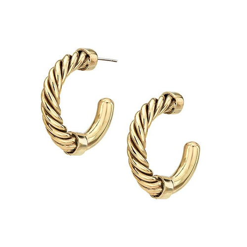 An image of a pair of 24 karat gold mini hoop earrings with a twisted wire detail by Soko