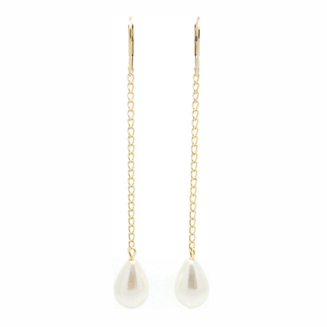 Salome X Stephanie Waxberg Gold Chain Pearl Drop Earrings