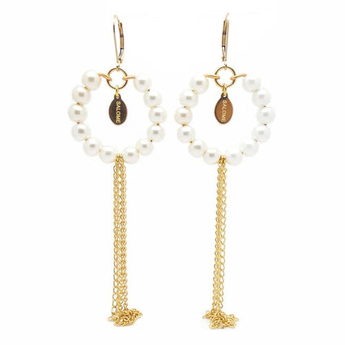 Salome X Stephanie Waxberg Pearl And Gold Tribal Earrings With Fringe