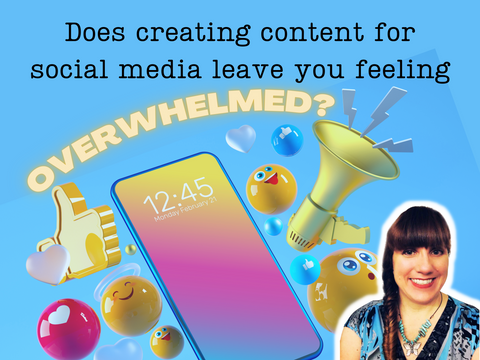 """""""Does creating content for social media leave you feeling overwhelmed?"""" image of smart phone and various emojis."""