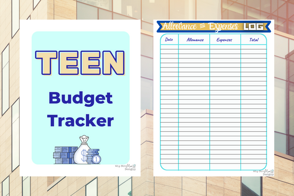 Teen Budget Allowance and expenses Tracker including goals and money jar stickers