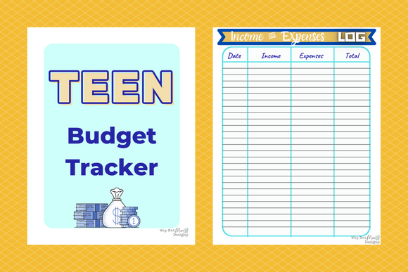 Teen Budget Income and expenses Tracker including goals and money jar stickers